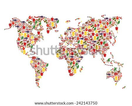 Food map - stock vector