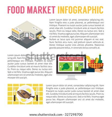 Food market infographics, supermarket, online shopping and cooking. Flat design vector illustration - stock vector