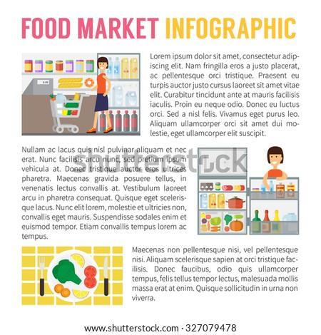Food market infographics, supermarket, storage in freezer and cooking. Flat design vector illustration - stock vector