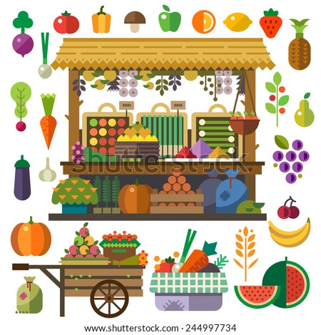Food market. Vector flat vegetables and fruits. Carrot, pumpkin, onion, tomato, pepper, pineapple, cherry, banana, grapes, apple, pear. Vector flat illustrations and icon set - stock vector