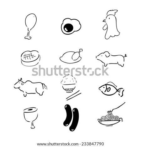 Food meat icons Chinese brush drawing - stock vector