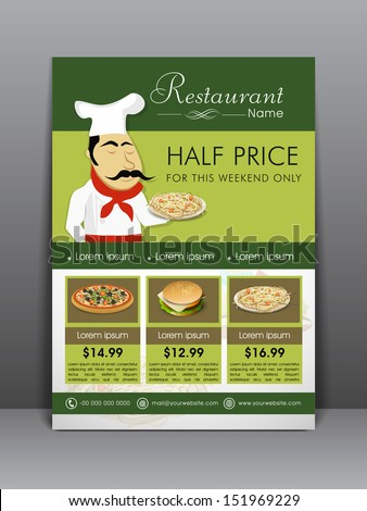 Food Menu Flyer Template Banner Design Stock Vector