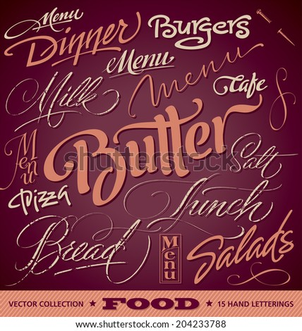 FOOD menu headlines set of 16 hand letterings -- custom handmade calligraphy, vector (eps8) - stock vector