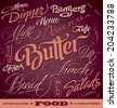 FOOD menu headlines set of 16 hand letterings -- handmade calligraphy, vector (eps8) - stock vector