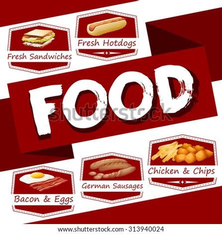 Food menu in red illustration - stock vector