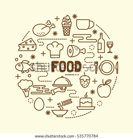 food minimal thin line icons set, vector illustration design elements