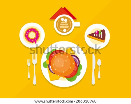 Food Objects on Table concept flat vector illustrations - stock vector