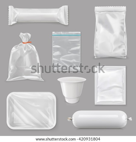 Food packaging for different snack products, design pack template for branding,  plastic retail package, sachet, packet, bag, pouch, box, white foil, sack, tray made of plastic, vector set mock up - stock vector