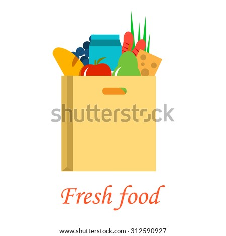 Food paper bag full of fresh healthy groceries, fresh food delivery concept