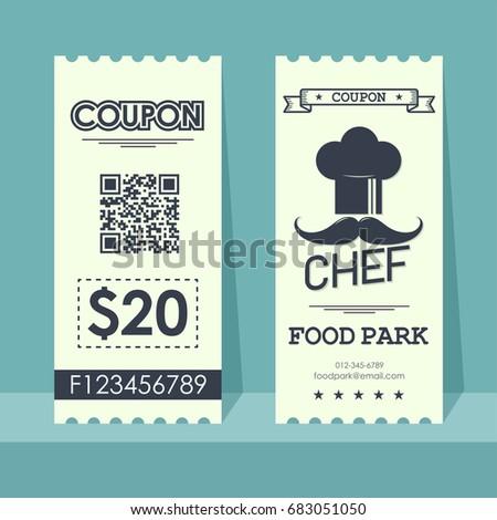 Food Park Coupon Ticket. Element Template Vertical Vintage Design For  Graphics. Vector Illustration.  Food Ticket Template