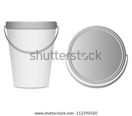 food plastic container , dessert, yogurt, ice-cream, sour cream with cover and handle - stock vector