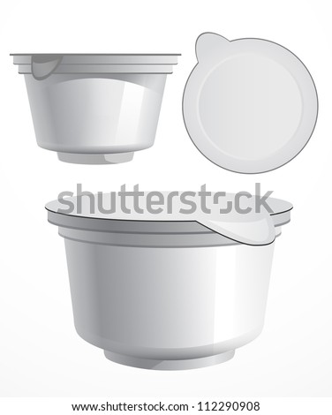 Food plastic container , dessert, yogurt, ice-cream, sour cream with cover at different angles - stock vector