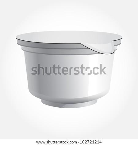 food plastic container , dessert, yogurt, sour cream - stock vector