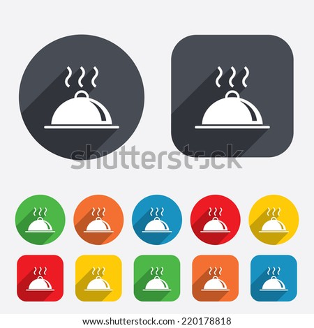 Food platter serving sign icon. Table setting in restaurant symbol. Hot warm meal. Circles and rounded squares 12 buttons. Vector - stock vector