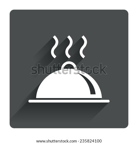 Food platter serving sign icon. Table setting in restaurant symbol. Hot warm meal. Gray flat square button with shadow. Modern UI website navigation. Vector - stock vector