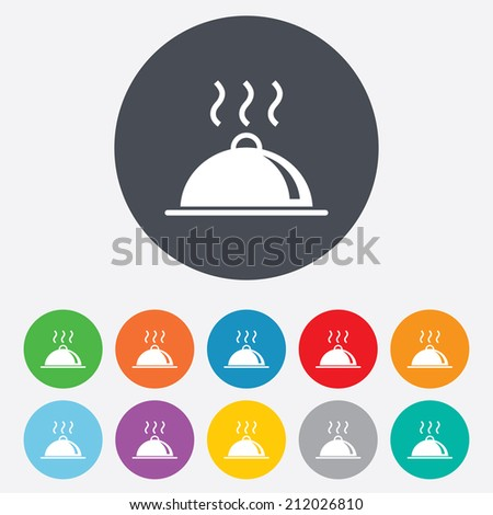 Food platter serving sign icon. Table setting in restaurant symbol. Hot warm meal. Round colourful 11 buttons. Vector - stock vector