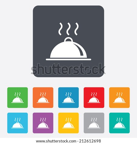 Food platter serving sign icon. Table setting in restaurant symbol. Hot warm meal. Rounded squares 11 buttons. Vector - stock vector