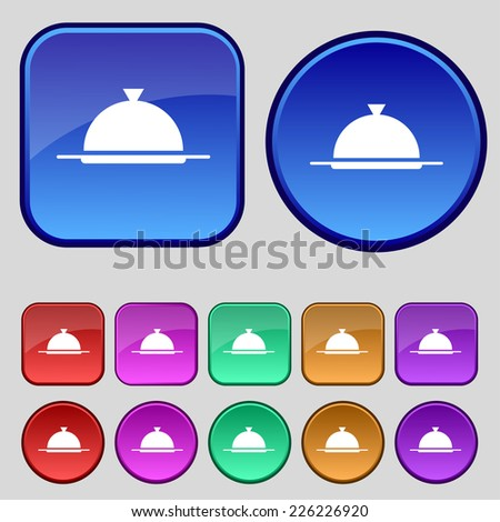 Food platter serving sign icon. Table setting in restaurant symbol. Set colorful buttons. Vector illustration - stock vector