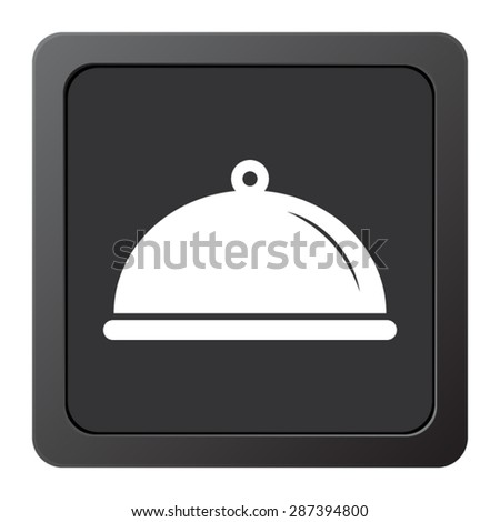 Food platter serving sign - vector icon on a grey button - stock vector
