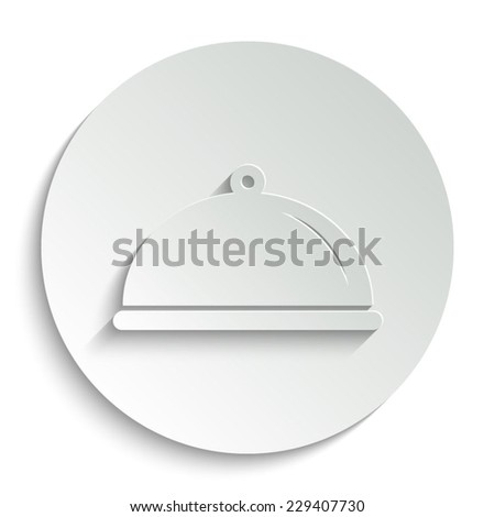 Food platter serving sign - vector icon with shadow on a round button - stock vector
