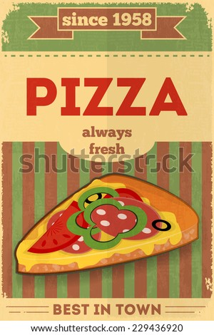 Food Poster. Advertise with Pizza. Vector Illustration. - stock vector