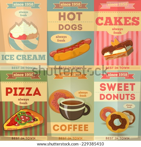 Food Posters set. Advertise with Ice Cream, Hot dogs, Cakes, Pizza, Coffee, Donuts. Vector Illustration.