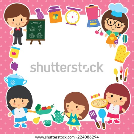 food preparation and kids layout design - stock vector