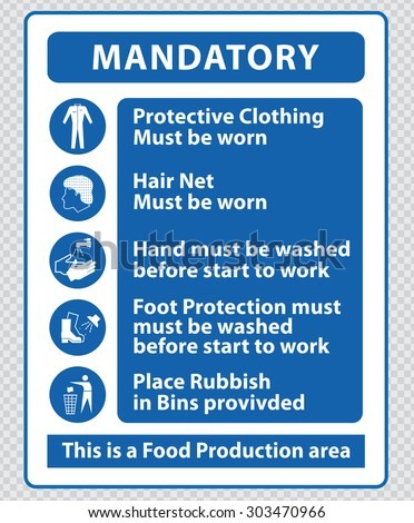 Food Production Mandatory Signs Food Production Stock