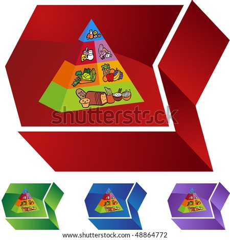 Food pyramid web button isolated on a background. - stock vector