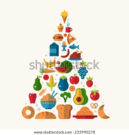 Food pyramid with flat icons - stock vector