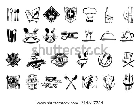 Food, restaurant and silverware icons, logo, emblems or symbols set with fork, spoon,  napkin, plate, knife, cook chef hat,  wine bottle, glass, cup, dish and teapot - stock vector