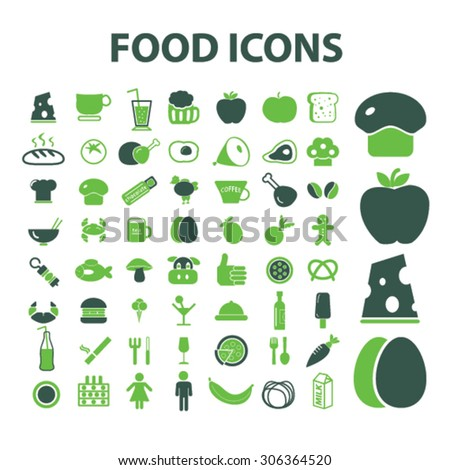 food, restaurant, grocery icons, signs, illustrations