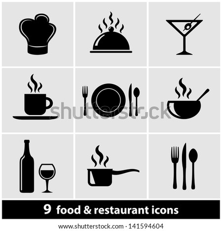 Food & Restaurant Icons Set - stock vector