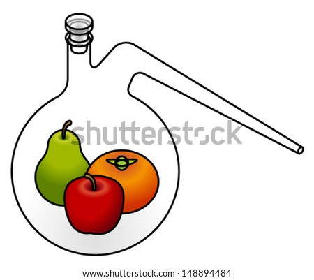 Food science concept: a green pear, red apple and orange persimmon in a retort flask. - stock vector