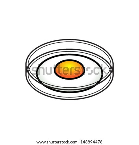 Food science concept: an egg in a petri dish. - stock vector