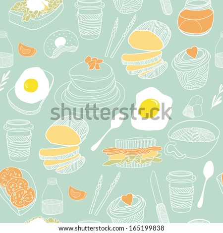 Food seamless background. Hand drawn vector pattern - stock vector