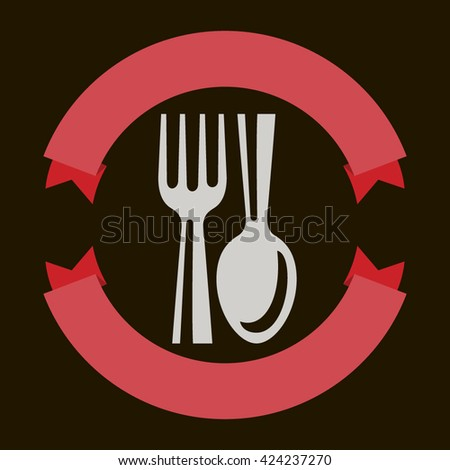 Food service fork and spoon vector illustration