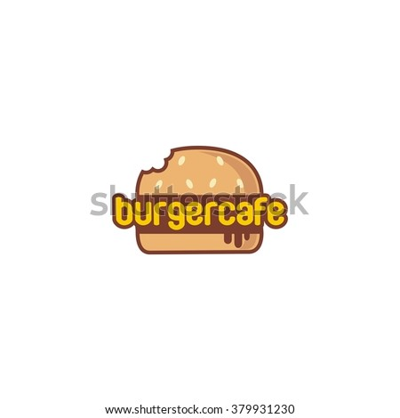 Food service vector logo. Fast food, burger and restaurant logo. Flat Style Design - stock vector