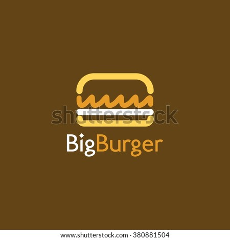 Food service vector logo. Fast food, burger, restaurant and cafe logo in brown background. design template - stock vector