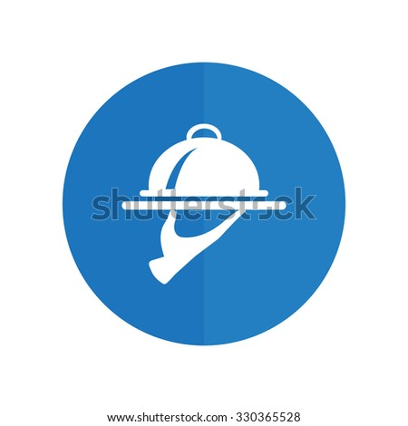 Food Serving Tray Platter. blue icon. - stock vector