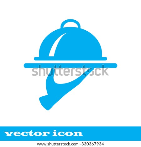 Food Serving Tray Platter. blue icon. vector. - stock vector