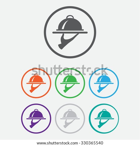 Food Serving Tray Platter. Round buttons with frame. - stock vector