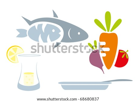 food set - beet, tomato, lemon, goblet, fruit, fish, pan, plate - stock vector