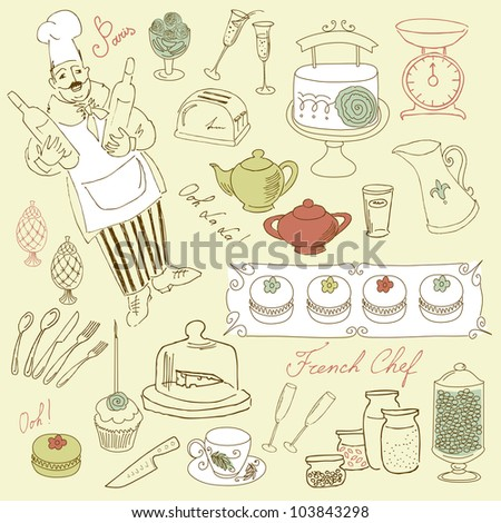 Food set, french cuisine - stock vector