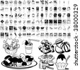 Food set of black sketch. Part 8-0. Isolated groups and layers. - stock vector