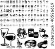 Food set of black sketch. Part 7-6. Isolated groups and layers. - stock vector