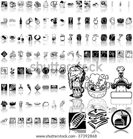 Food set of black sketch. Part 8. Isolated groups and layers. - stock vector