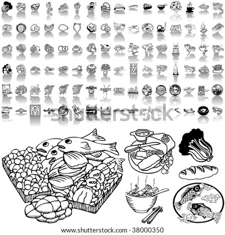 Food set of black sketch. Part 1-0. Isolated groups and layers.