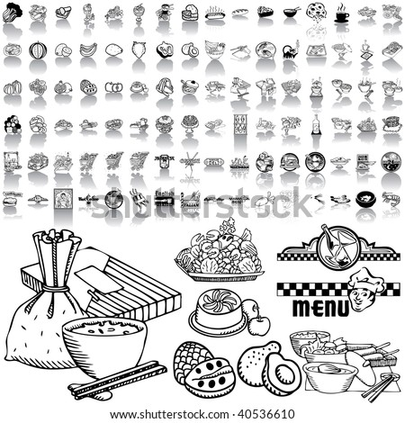 Food set of black sketch. Part 1-6. Isolated groups and layers.