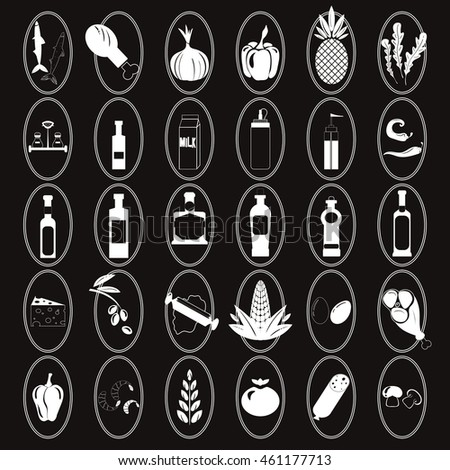 food set of vector icons on dark background. Ingredients for pizza